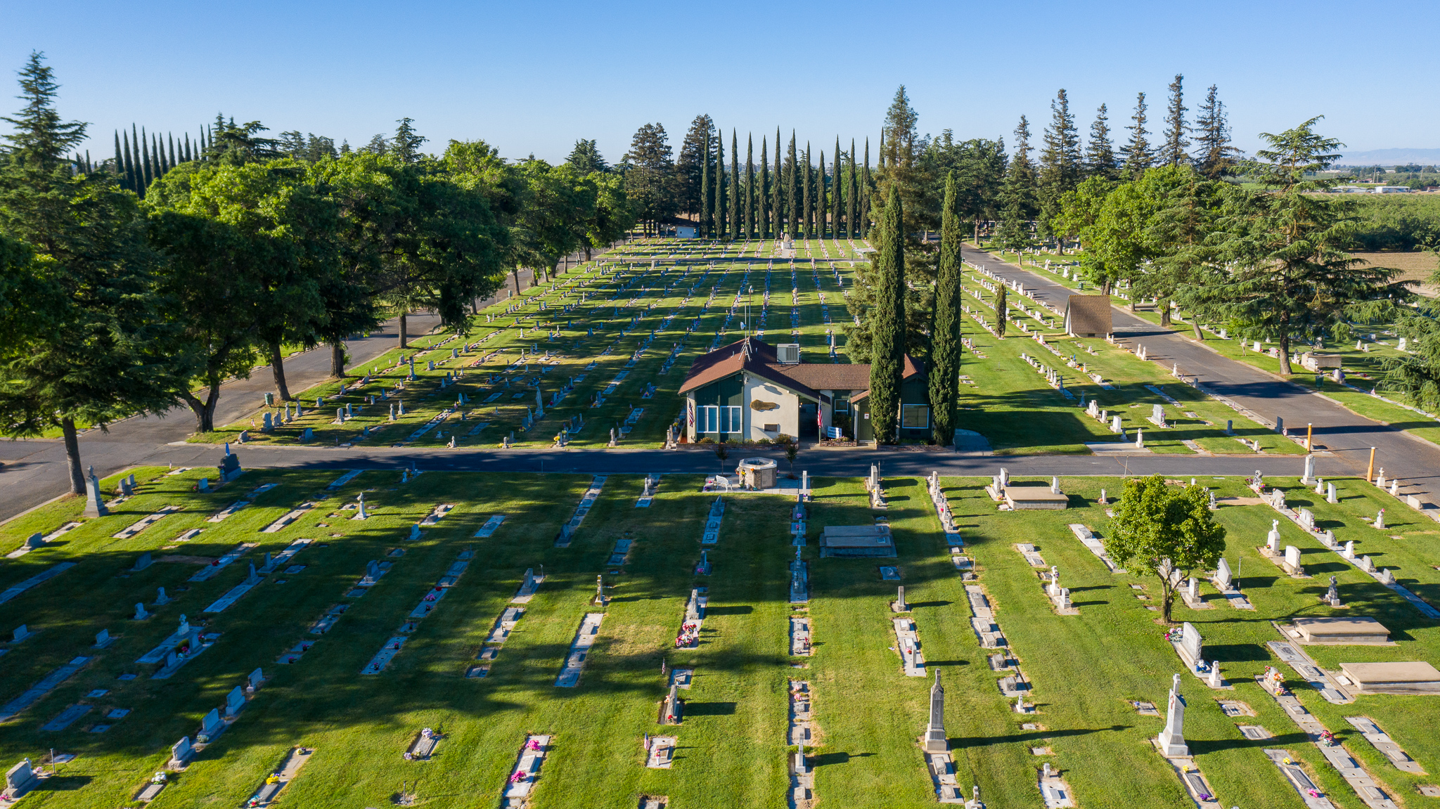 Aerial view of front of Winton Cemetery