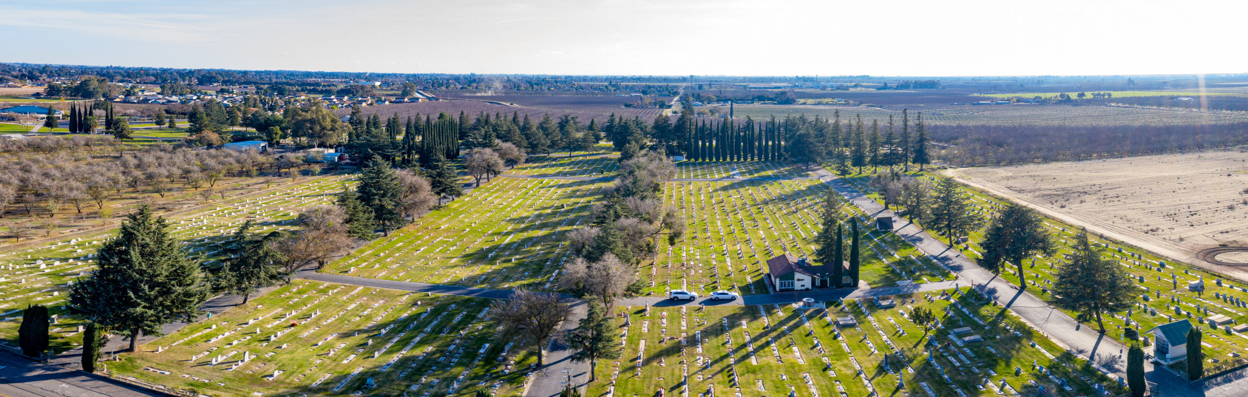 Panoramic view of the front of winton cemetery